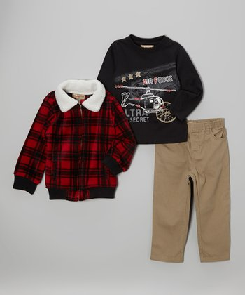 Red Plaid Fleece Jacket Set - Infant, Toddler & Boys