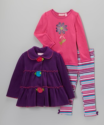 Purple Rosette Ruffle Jacket Set - Infant, Toddler & Girls
