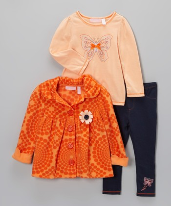 Orange Fleece Swing Jacket Set - Girls