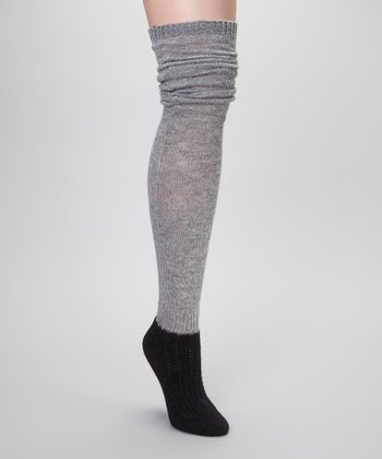 Gray & Black Angora-Blend Slouch Over-the-Knee Socks