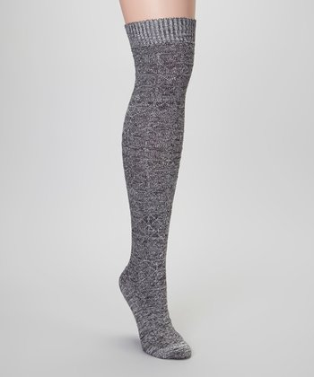 Gray Grid Over-the-Knee Socks