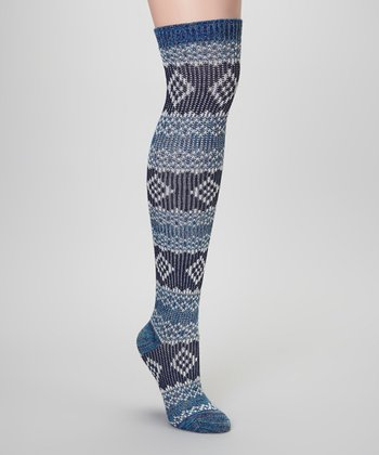 Poseidon Blue Fair Isle Over-the-Knee Socks