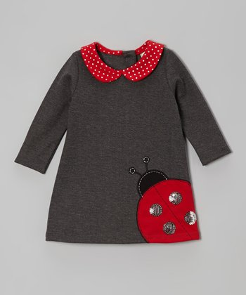 Charcoal Ladybug Dress - Infant, Toddler & Girls