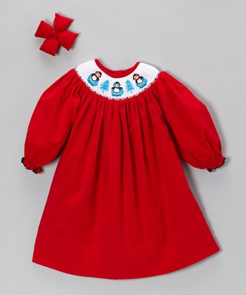 Red Penguin Corduroy Dress & Bow Clip - Infant, Toddler & Girls