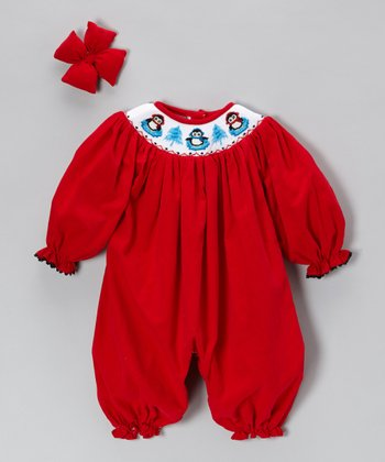 Red Corduroy Penguin Bubble Playsuit & Bow Clip - Infant