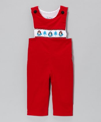 Red Penguin Corduroy Overalls - Infant