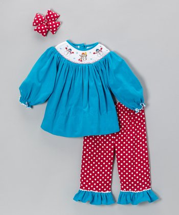 Turquoise & Hot Pink Polka Dot Ruffle Pants Set - Girls