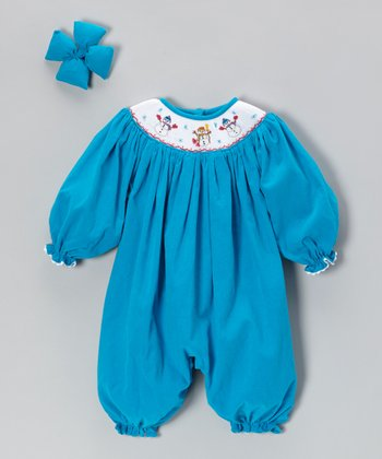 Turquoise Snowman Corduroy Bubble Playsuit & Bow Clip - Infant
