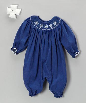 Navy Snowflake Corduroy Bubble Playsuit & Bow Clip - Infant