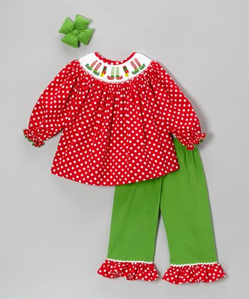 Green & Red Polka Dot Ruffle Pants Set - Infant