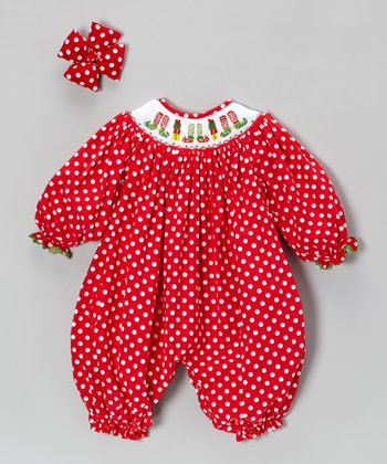 Red Corduroy Elf Shoes Bubble Romper & Bow Clip - Infant