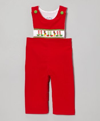 Red Corduroy Elf Shoes Overalls - Infant & Toddler