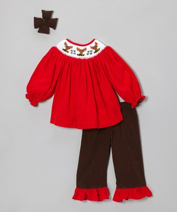 Brown & Red Corduroy Ruffle Pants Set - Infant, Toddler & Girls