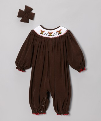 Brown Moose Corduroy Bubble Playsuit & Bow Clip - Infant
