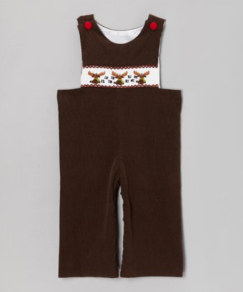 Brown Moose Corduroy Overalls - Infant