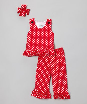 Red Corduroy Sleeveless Top Set - Infant, Toddler & Girls