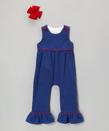 Navy Corduroy Ruffle Overalls & Clip - Infant, Toddler & Girls