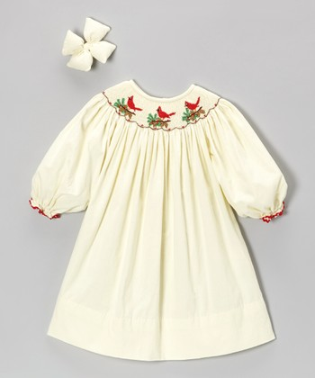 Cream Cardinal Corduroy Dress & Clip - Infant, Toddler & Girls