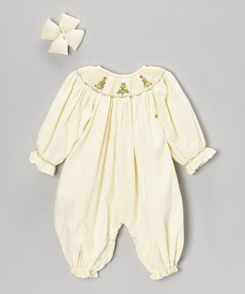 Cream Christmas Tree Corduroy Bubble Playsuit & Clip - Infant