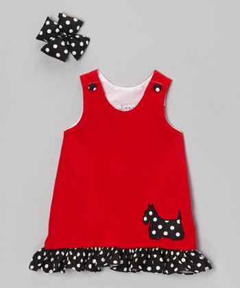 Red Scottie Corduroy Jumper & Clip - Infant & Girls