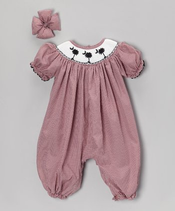 Garnet S.C. Gingham Palm Tree Bubble Romper & Bow Clip - Infant