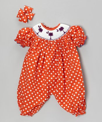 Orange Polka Dot Bubble Romper & Bow Clip - Infant
