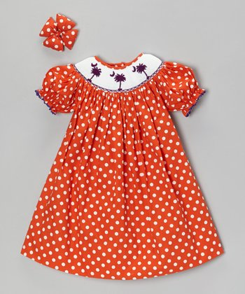 Orange Polka Dot Palm Tree Dress & Clip - Infant, Toddler & Girls