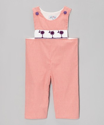 Orange Gingham S.C. Palm Tree Overalls - Infant & Toddler