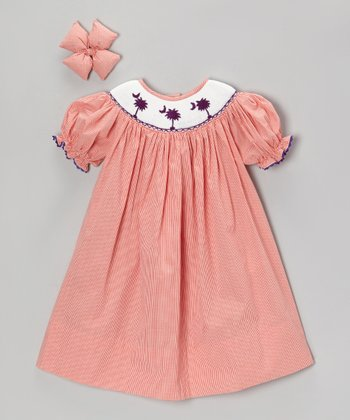 Orange S.C. Palm Tree Dress & Bow Clip - Infant, Toddler & Girls