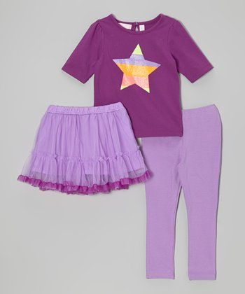 Purple & Orange Star Tee Set - Infant, Toddler & Girls