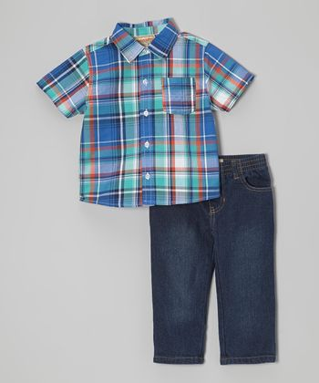 Blue & Orange Plaid Button-Up & Jeans - Infant, Toddler & Boys