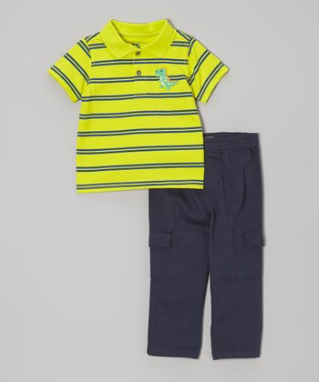 Yellow & Black Dino Stripe Polo & Cargo Pants - Infant & Toddler