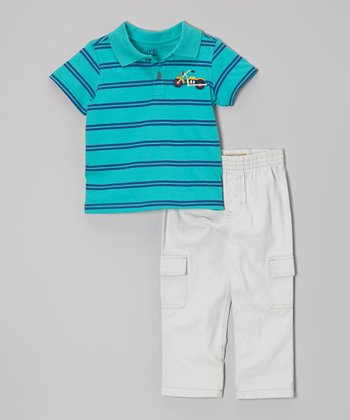 Blue Stripe Motorcycle Polo & Cargo Pants - Infant & Toddler