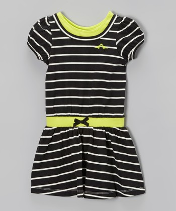 Black & White Stripe Dress - Infant, Toddler & Girls