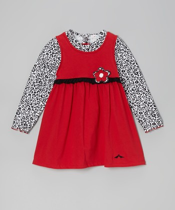 Red & White Leopard Dress - Infant, Toddler & Girls