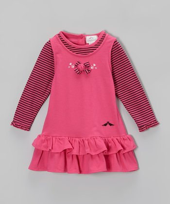 Hot Pink Stripe Ruffle Dress - Infant, Toddler & Girls