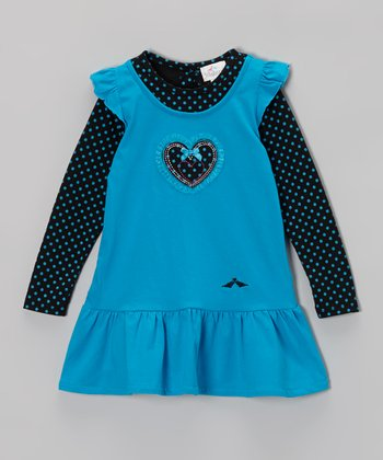 Blue & Black Polka Dot Ruffle Dress - Infant, Toddler & Girls