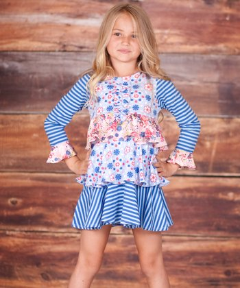 Blue Pansie Tiered Party Dress - Infant, Toddler & Girls