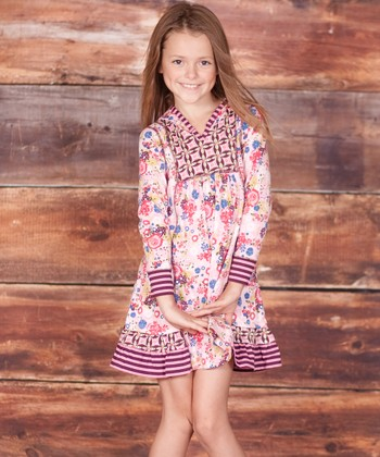 Pink Petite Fleur Hooded Dress - Infant, Toddler & Girls