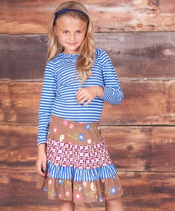 Palace Blue Top & Brown Floral Skirt - Infant, Toddler & Girls