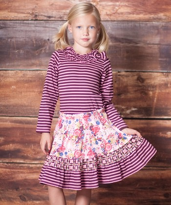 Berry Pink Stripe Top & Floral Skirt - Infant, Toddler & Girls