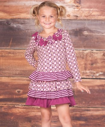 Berry Pink Floral Tile Bow Tiered Dress - Infant & Toddler