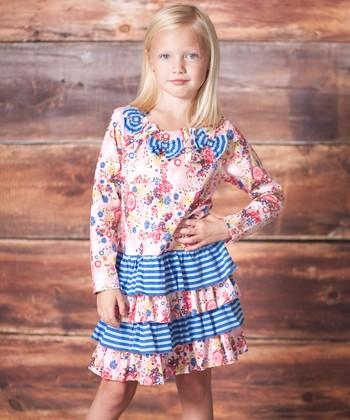 Pink & Blue Petite Fleur Tiered Dress - Infant, Toddler & Girls