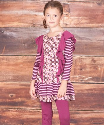Berry Pink Floral Tile Tunic & Leggings - Infant, Toddler & Girls