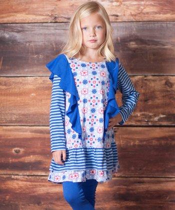 Blue Pansie Ruffle Tunic & Leggings - Infant & Toddler