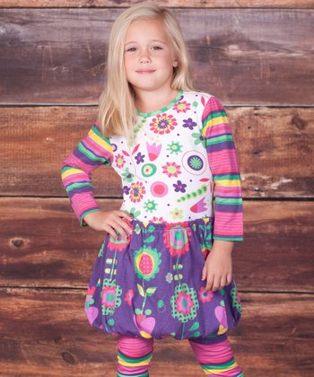 Purple Bubble Dress & Leggings - Infant & Girls