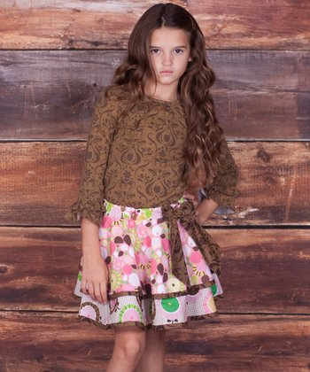 Brown Damask Top & Claire Skirt - Infant, Toddler & Girls