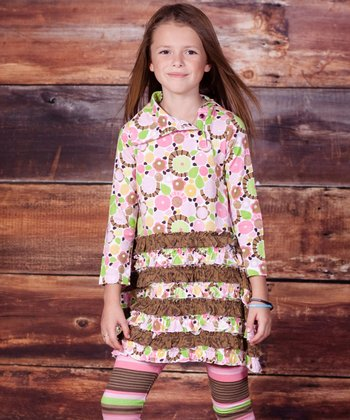 Green & Brown Montrose Dress & Leggings - Infant & Girls