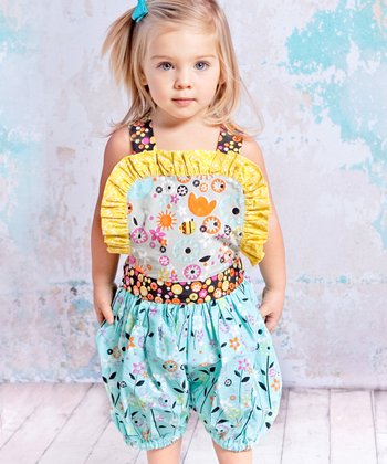 Blue & Yellow Bees Isla Bubble Romper - Infant