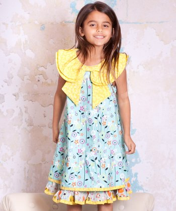 Blue & Yellow Bees Kenzei Bow Dress - Infant, Toddler & Girls